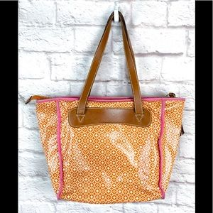 Fossil zippered tote orange pink leather handles